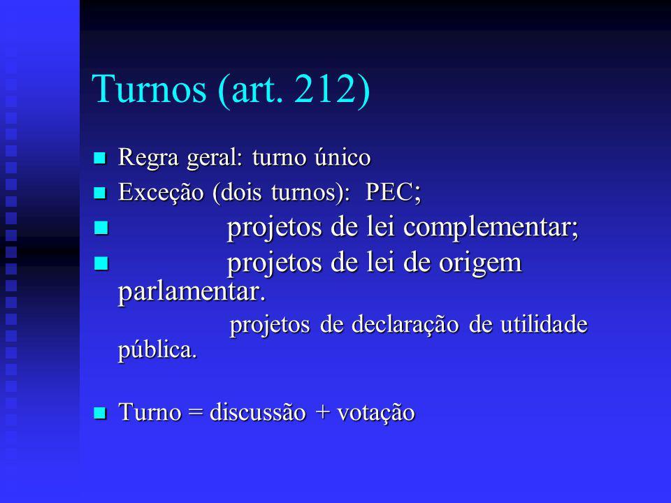 Turnos (art. 212) projetos de lei complementar;