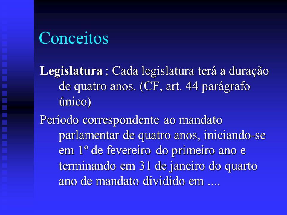 Conceitos Legislatura : Cada legislatura terá a duração de quatro anos. (CF, art. 44 parágrafo único)