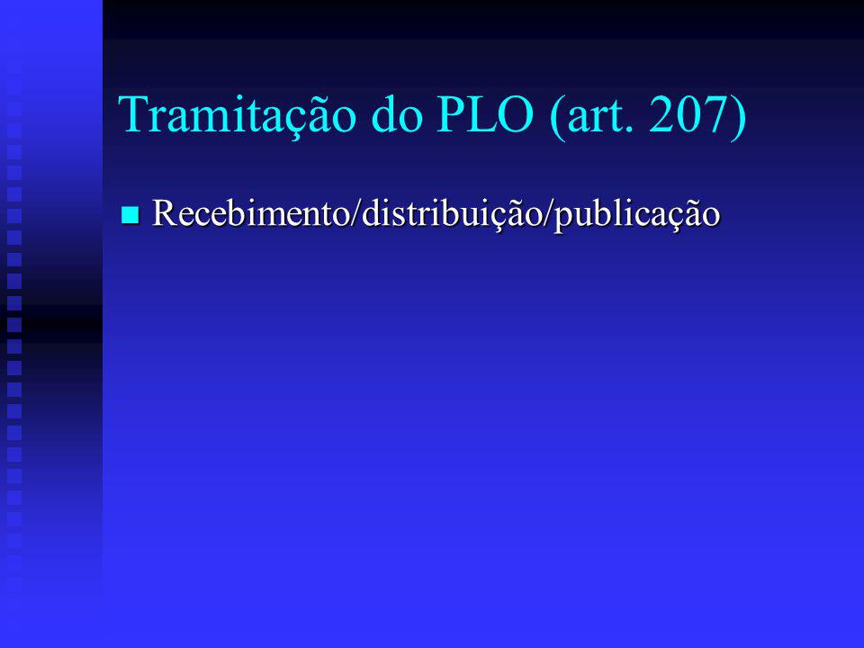 Tramitação do PLO (art. 207)