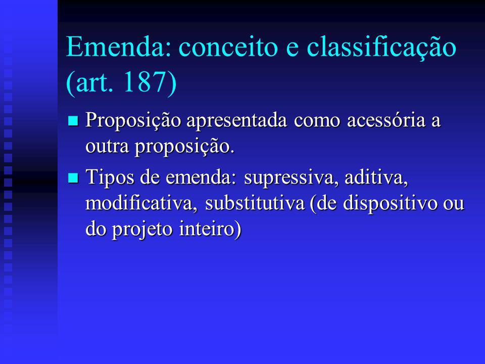 Emenda: conceito e classificação (art. 187)