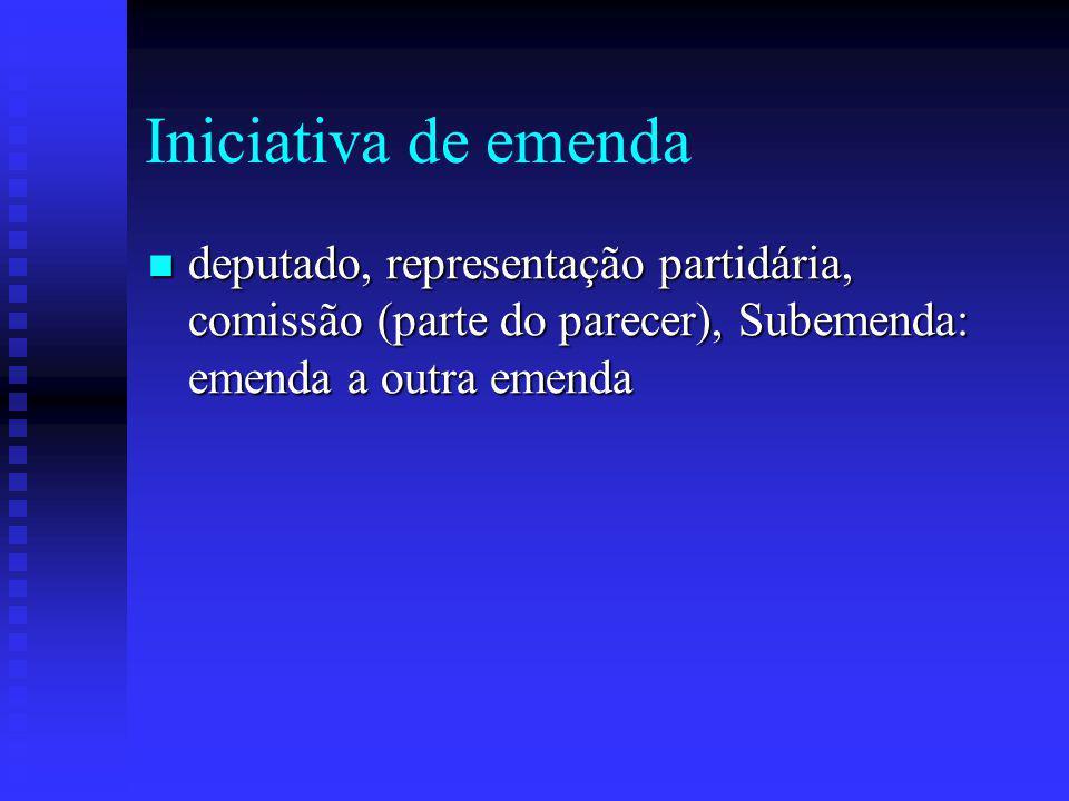 Iniciativa de emenda deputado, representação partidária, comissão (parte do parecer), Subemenda: emenda a outra emenda.