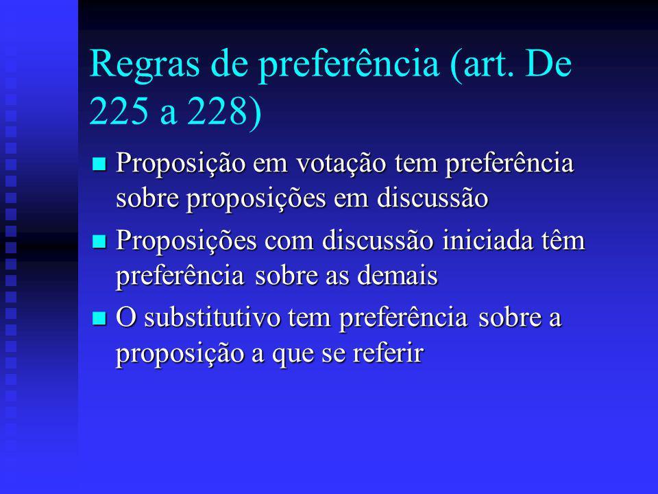 Regras de preferência (art. De 225 a 228)