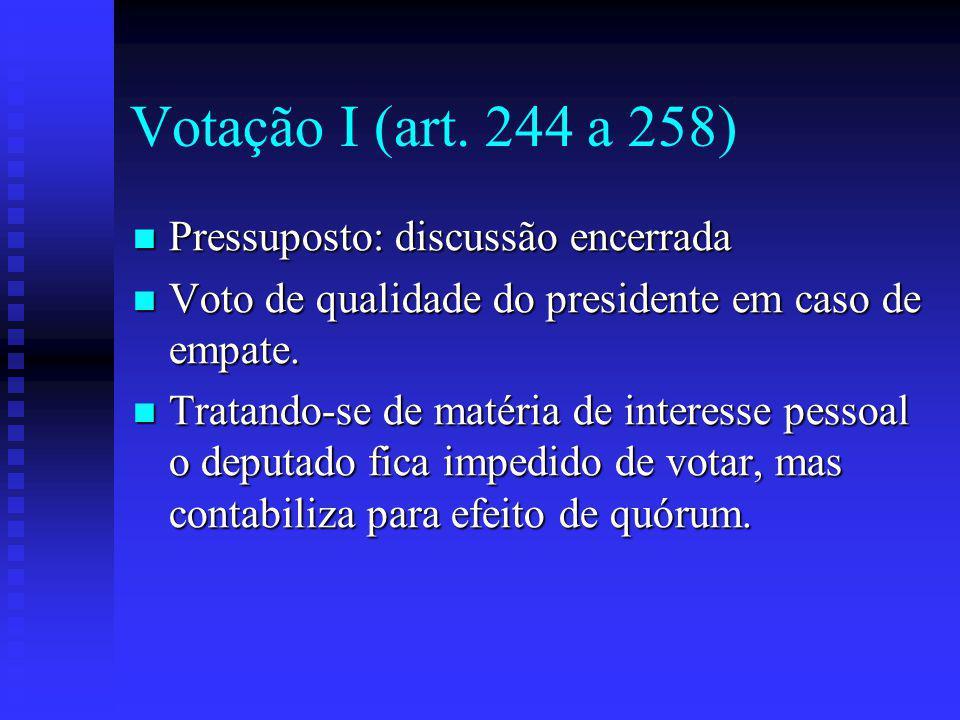 Votação I (art. 244 a 258) Pressuposto: discussão encerrada