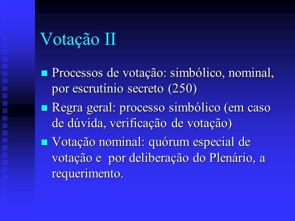 Votação II Processos de votação: simbólico, nominal, por escrutínio secreto (250)