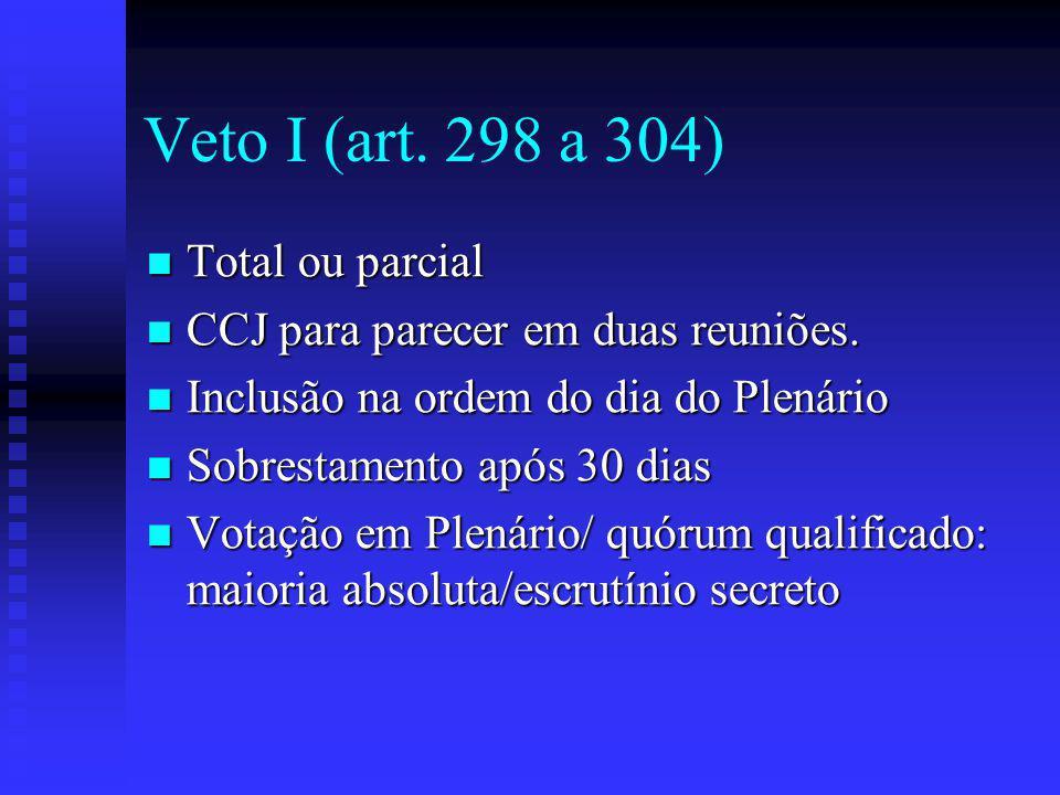 Veto I (art. 298 a 304) Total ou parcial