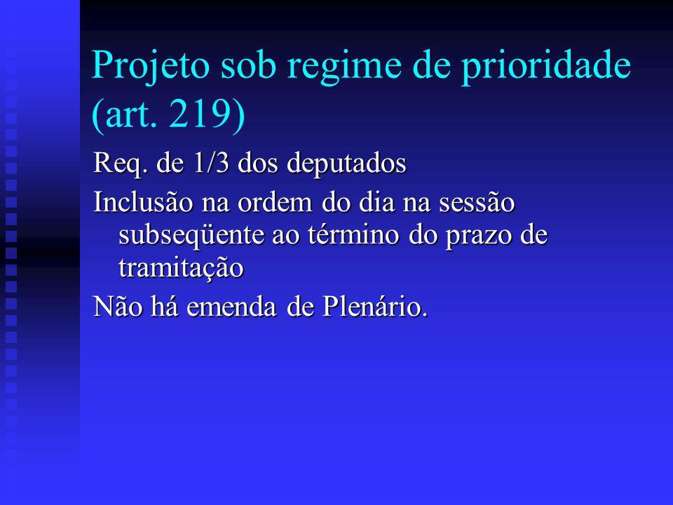Projeto sob regime de prioridade (art. 219)