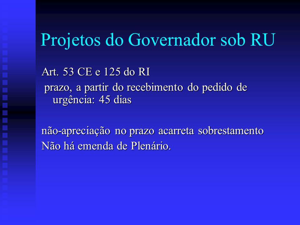 Projetos do Governador sob RU