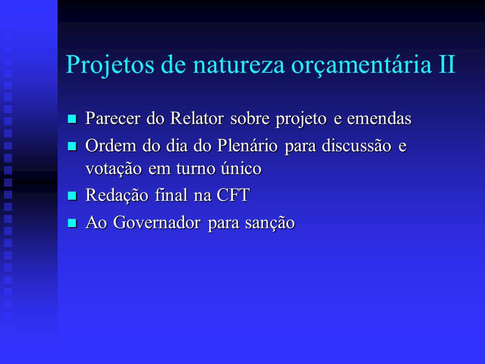 Projetos de natureza orçamentária II