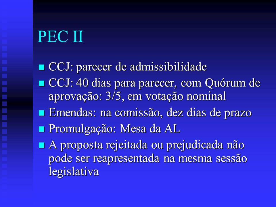 PEC II CCJ: parecer de admissibilidade