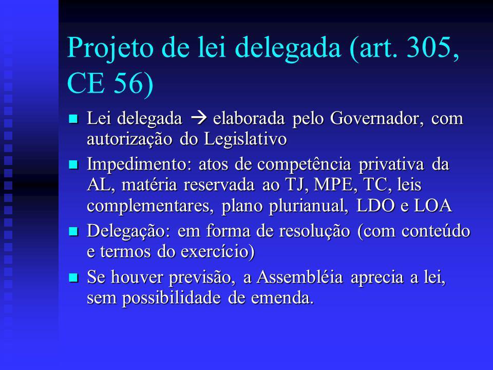 Projeto de lei delegada (art. 305, CE 56)
