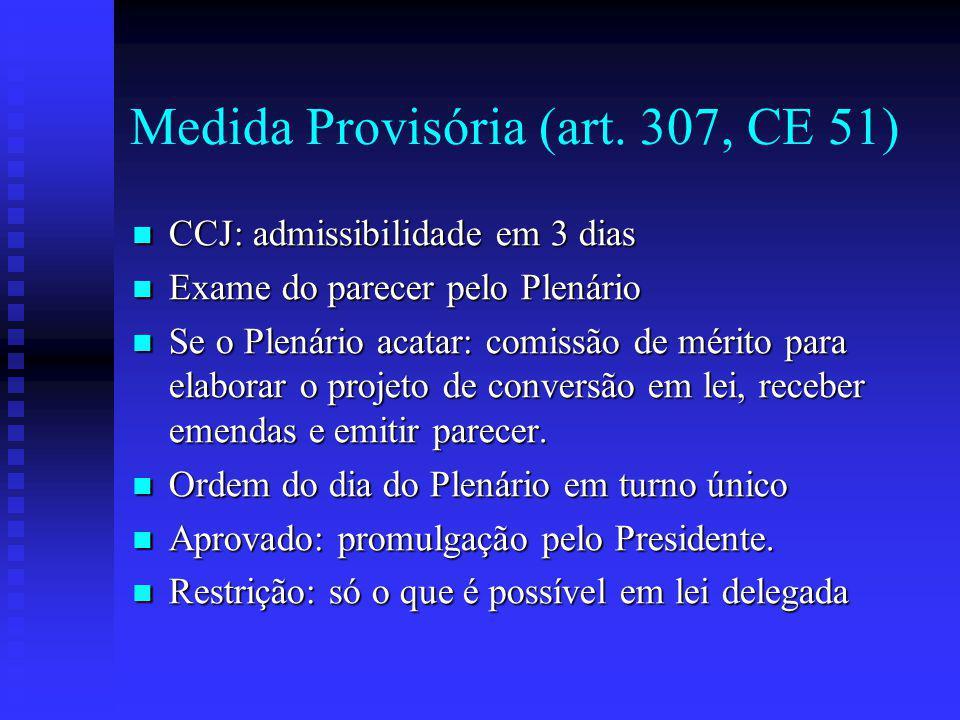 Medida Provisória (art. 307, CE 51)