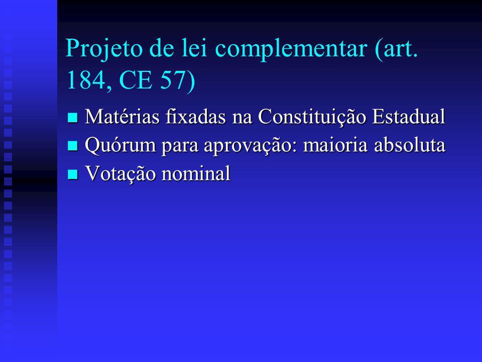 Projeto de lei complementar (art. 184, CE 57)