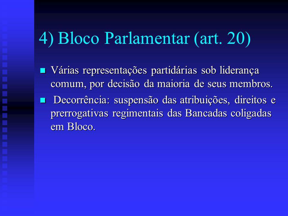 4) Bloco Parlamentar (art. 20)