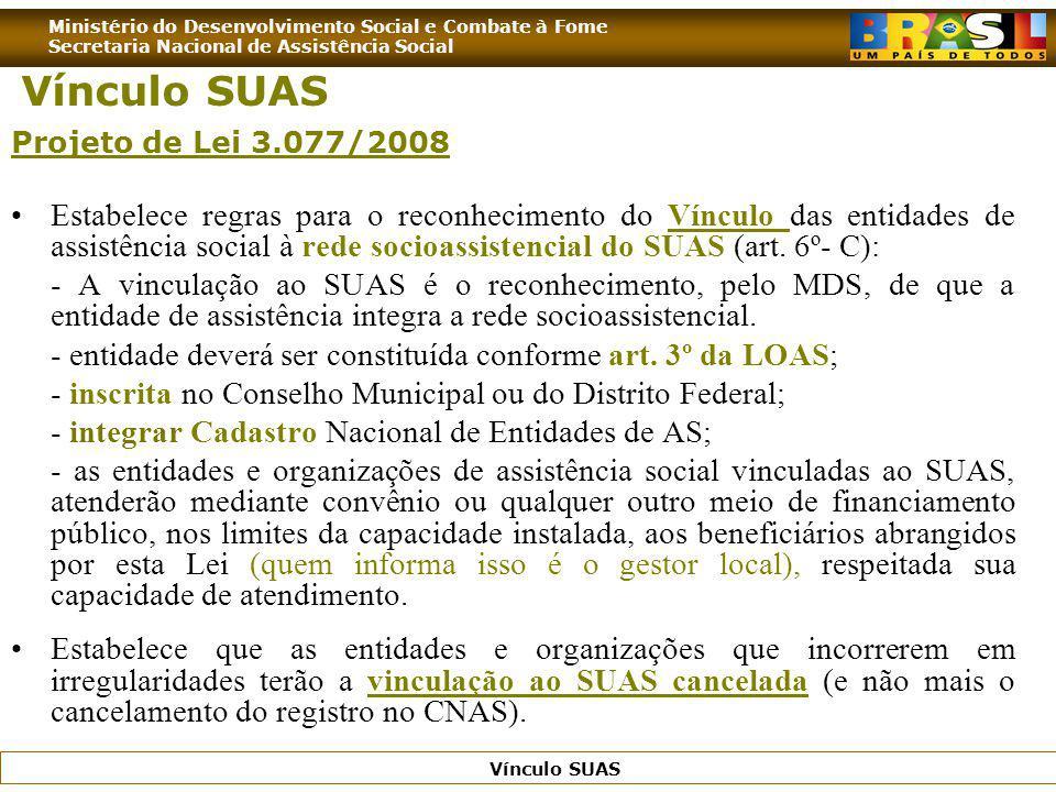 Vínculo SUAS Projeto de Lei 3.077/2008.