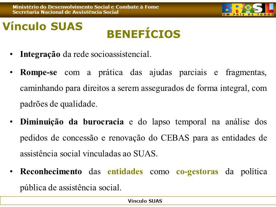 Vínculo SUAS BENEFÍCIOS Integração da rede socioassistencial.