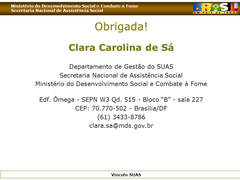 Obrigada! Clara Carolina de Sá Departamento de Gestão do SUAS