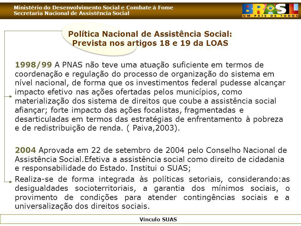 Política Nacional de Assistência Social: Prevista nos artigos 18 e 19 da LOAS