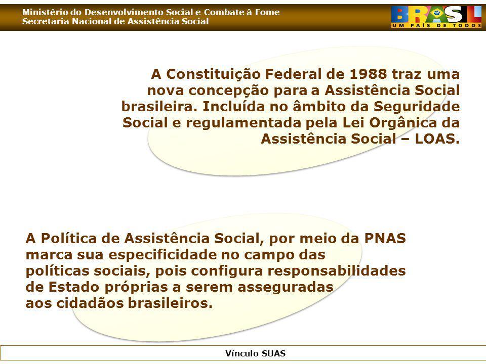 A Constituição Federal de 1988 traz uma nova concepção para a Assistência Social brasileira. Incluída no âmbito da Seguridade Social e regulamentada pela Lei Orgânica da Assistência Social – LOAS.
