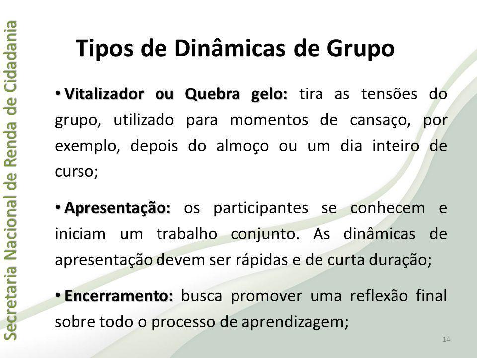 Tipos de Dinâmicas de Grupo