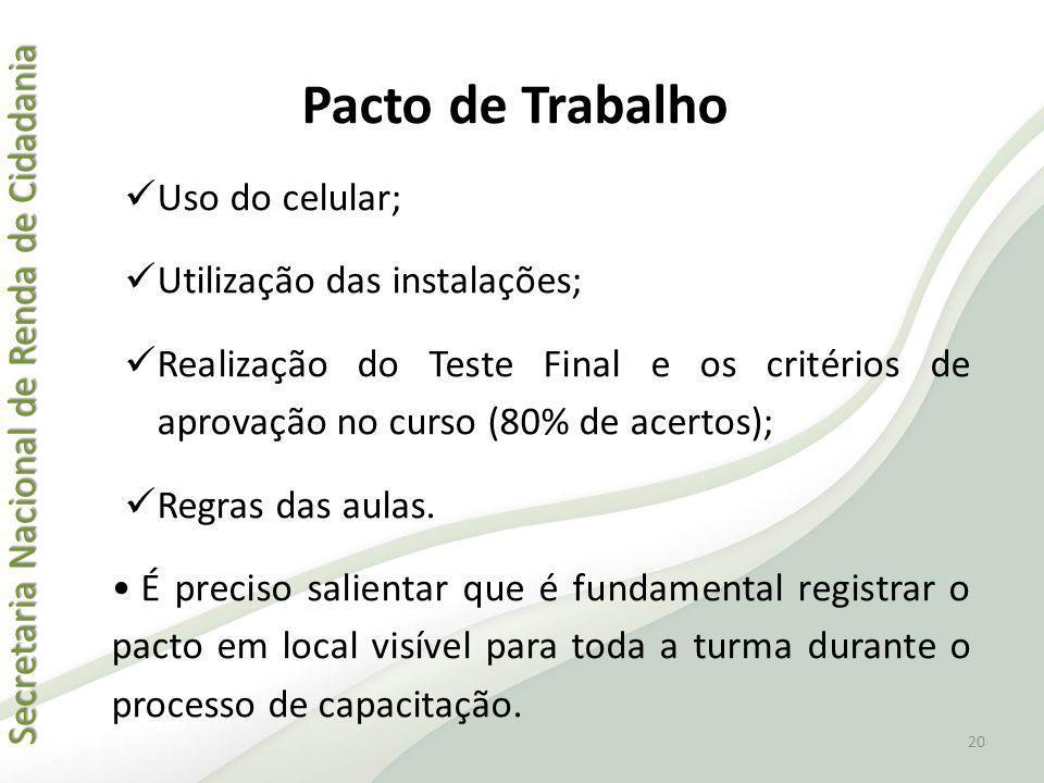 Pacto de Trabalho Uso do celular; Utilização das instalações;