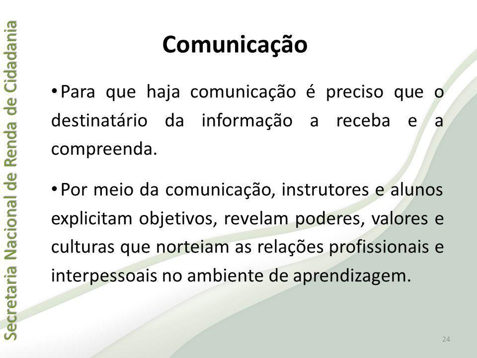 Comunicação Para que haja comunicação é preciso que o destinatário da informação a receba e a compreenda.