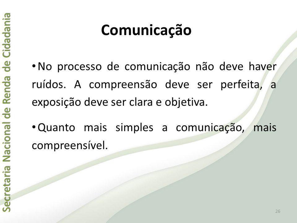 Comunicação No processo de comunicação não deve haver ruídos. A compreensão deve ser perfeita, a exposição deve ser clara e objetiva.