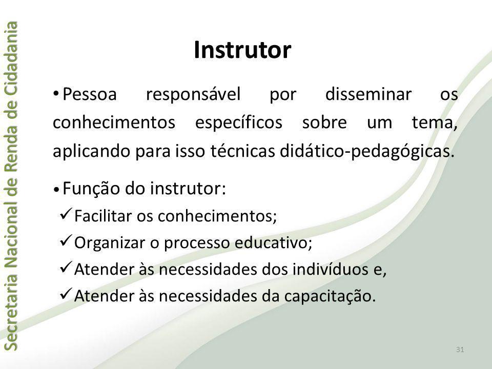 Instrutor Pessoa responsável por disseminar os conhecimentos específicos sobre um tema, aplicando para isso técnicas didático-pedagógicas.