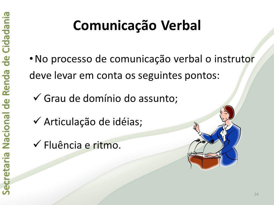 Comunicação Verbal No processo de comunicação verbal o instrutor deve levar em conta os seguintes pontos:
