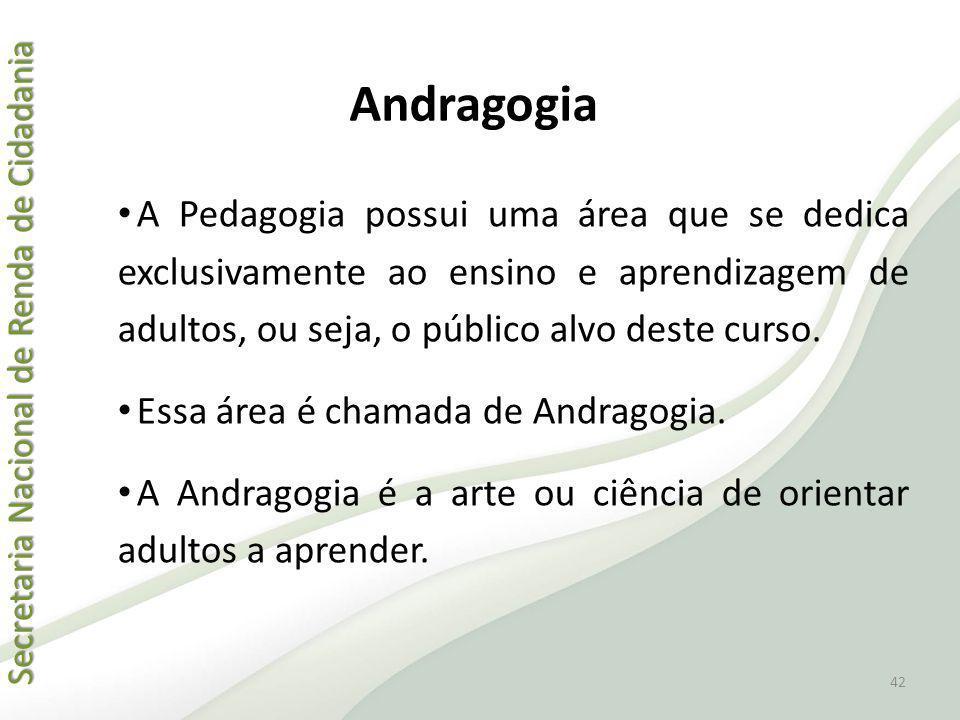 Andragogia A Pedagogia possui uma área que se dedica exclusivamente ao ensino e aprendizagem de adultos, ou seja, o público alvo deste curso.