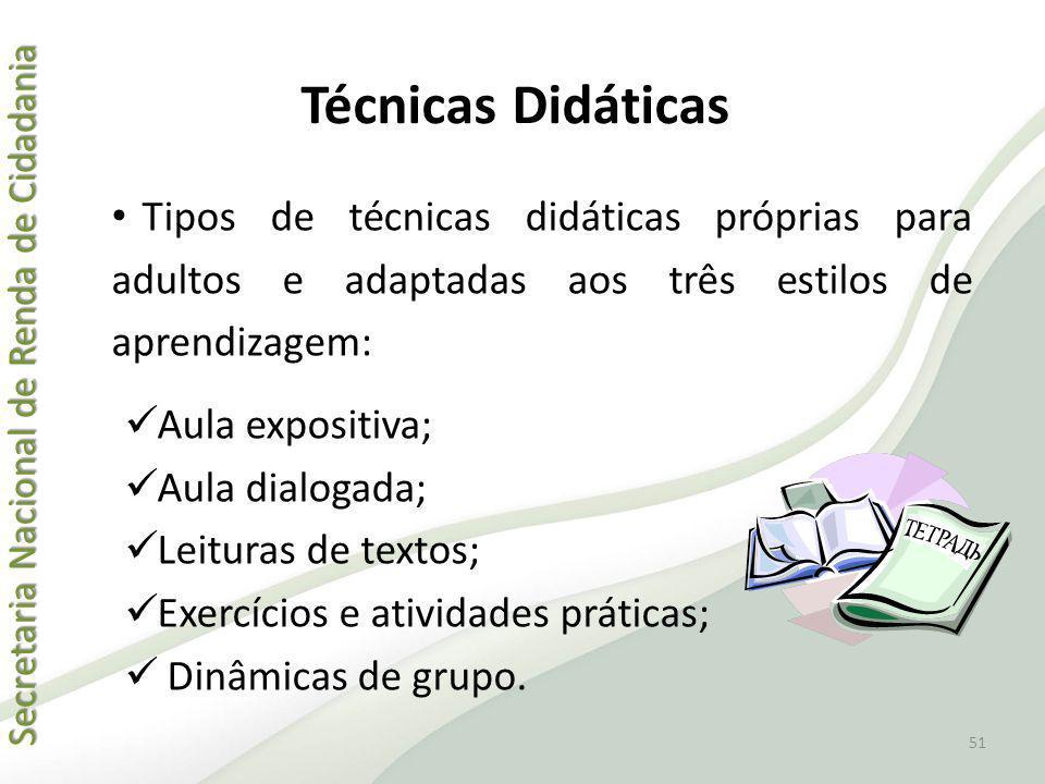 Técnicas Didáticas Tipos de técnicas didáticas próprias para adultos e adaptadas aos três estilos de aprendizagem: