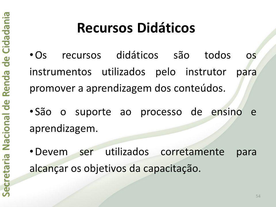 Recursos Didáticos Os recursos didáticos são todos os instrumentos utilizados pelo instrutor para promover a aprendizagem dos conteúdos.