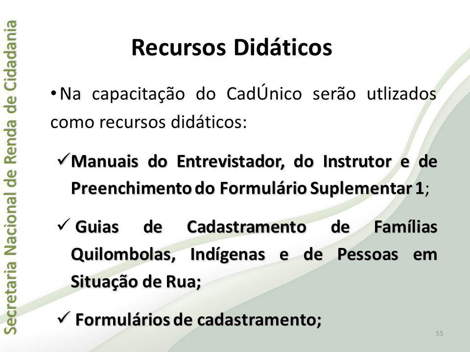 Recursos Didáticos Na capacitação do CadÚnico serão utlizados como recursos didáticos: