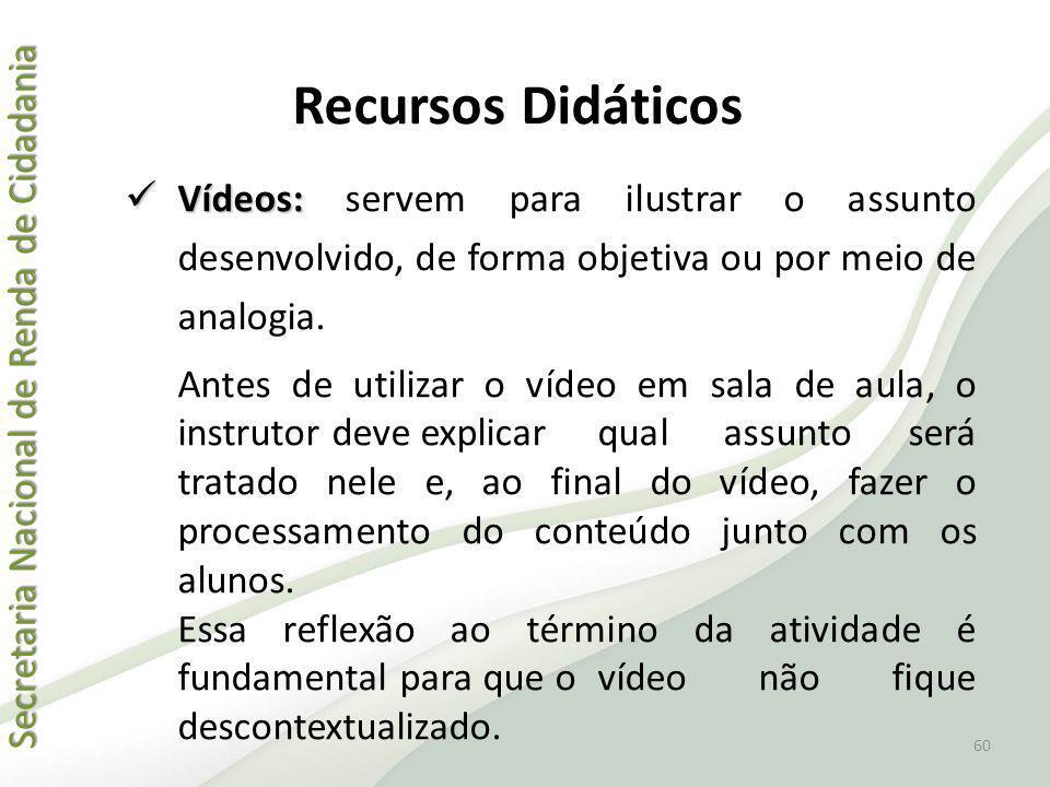 Recursos Didáticos Vídeos: servem para ilustrar o assunto desenvolvido, de forma objetiva ou por meio de analogia.