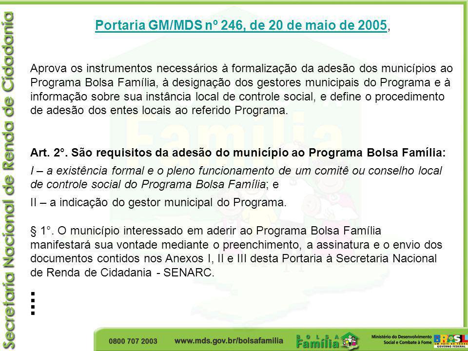 Portaria GM/MDS nº 246, de 20 de maio de 2005,