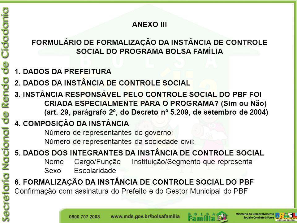 FORMULÁRIO DE FORMALIZAÇÃO DA INSTÂNCIA DE CONTROLE