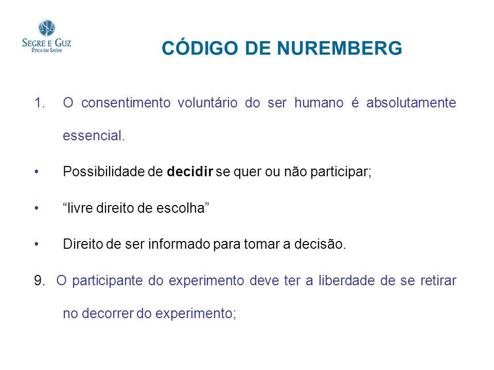 CÓDIGO DE NUREMBERG O consentimento voluntário do ser humano é absolutamente essencial. Possibilidade de decidir se quer ou não participar;