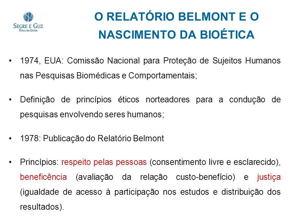 O RELATÓRIO BELMONT E O NASCIMENTO DA BIOÉTICA