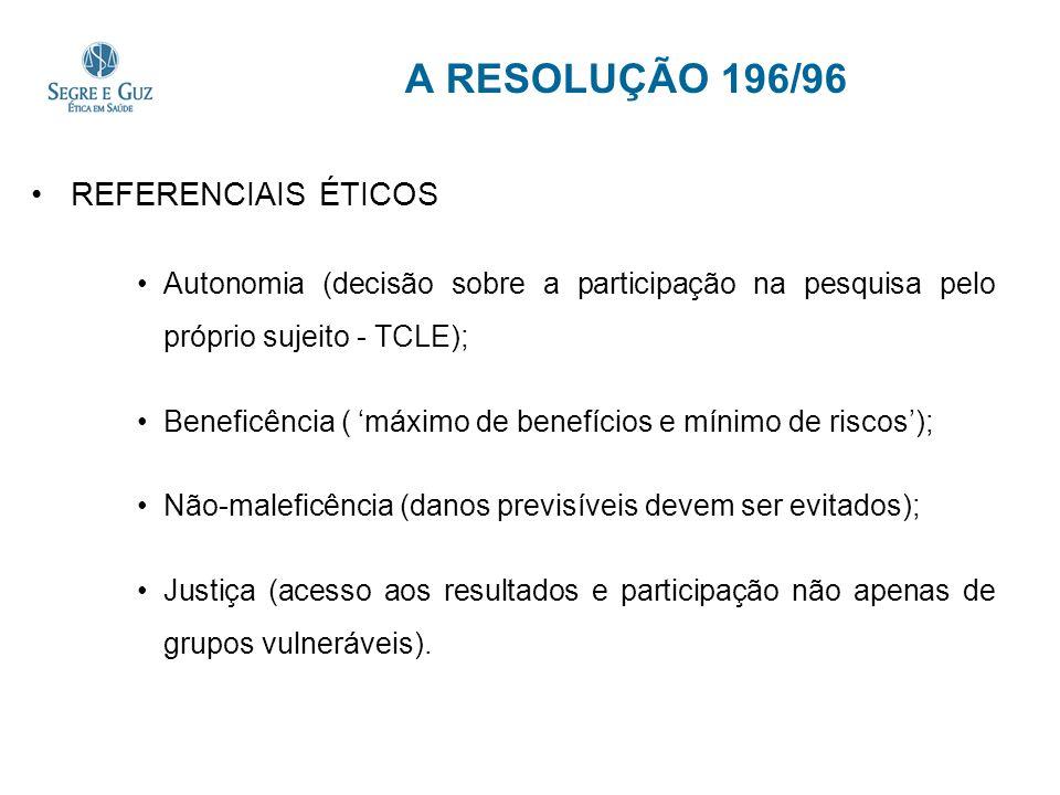 A RESOLUÇÃO 196/96 REFERENCIAIS ÉTICOS