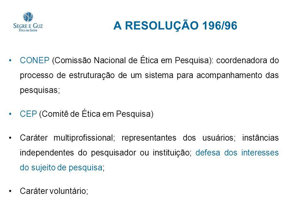 A RESOLUÇÃO 196/96