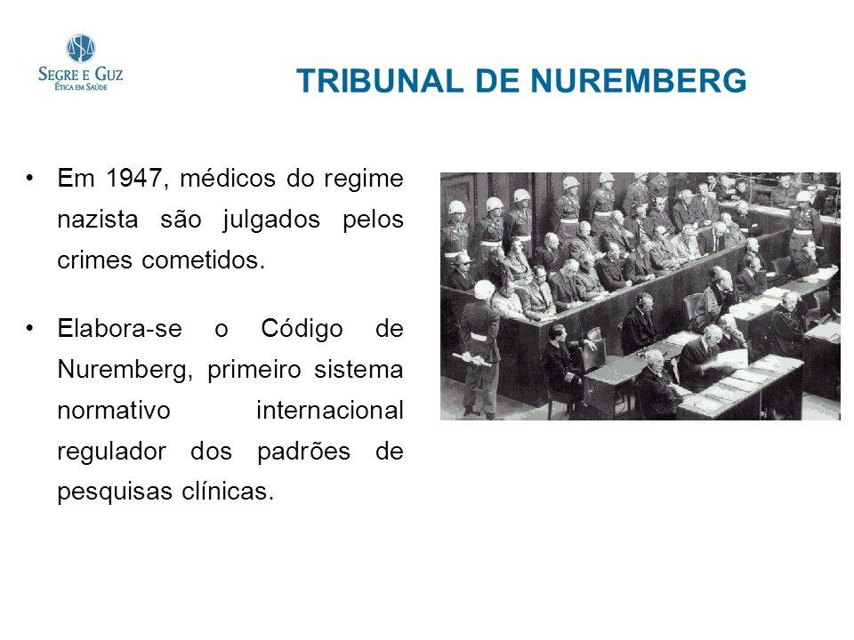 TRIBUNAL DE NUREMBERG Em 1947, médicos do regime nazista são julgados pelos crimes cometidos.