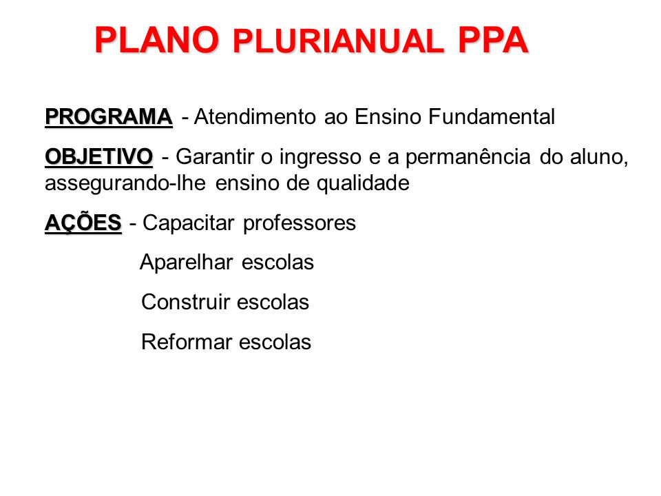 PLANO PLURIANUAL PPA PROGRAMA - Atendimento ao Ensino Fundamental