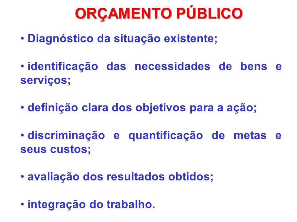 ORÇAMENTO PÚBLICO Diagnóstico da situação existente;