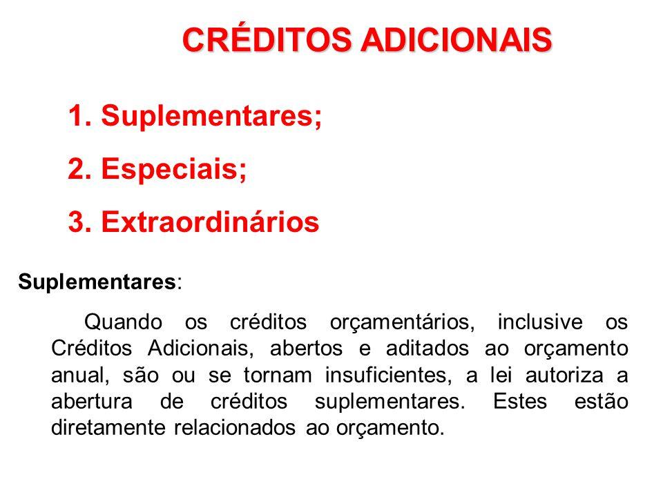 CRÉDITOS ADICIONAIS Suplementares; Especiais; Extraordinários