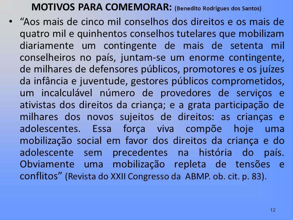 MOTIVOS PARA COMEMORAR: (Benedito Rodrigues dos Santos)
