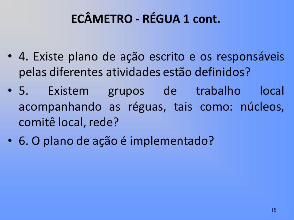 ECÂMETRO - RÉGUA 1 cont. 4. Existe plano de ação escrito e os responsáveis pelas diferentes atividades estão definidos