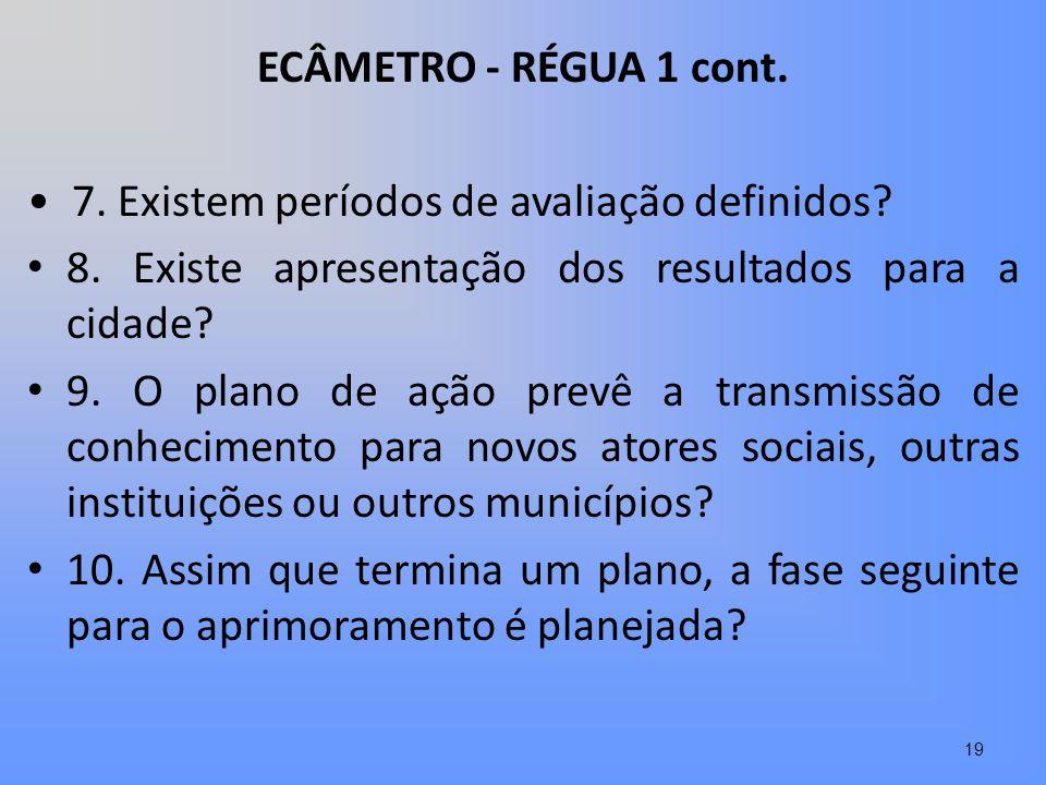 ECÂMETRO - RÉGUA 1 cont. • 7. Existem períodos de avaliação definidos 8. Existe apresentação dos resultados para a cidade