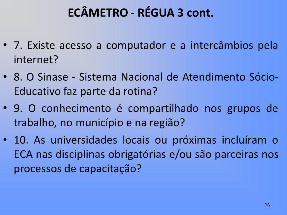 ECÂMETRO - RÉGUA 3 cont. 7. Existe acesso a computador e a intercâmbios pela internet