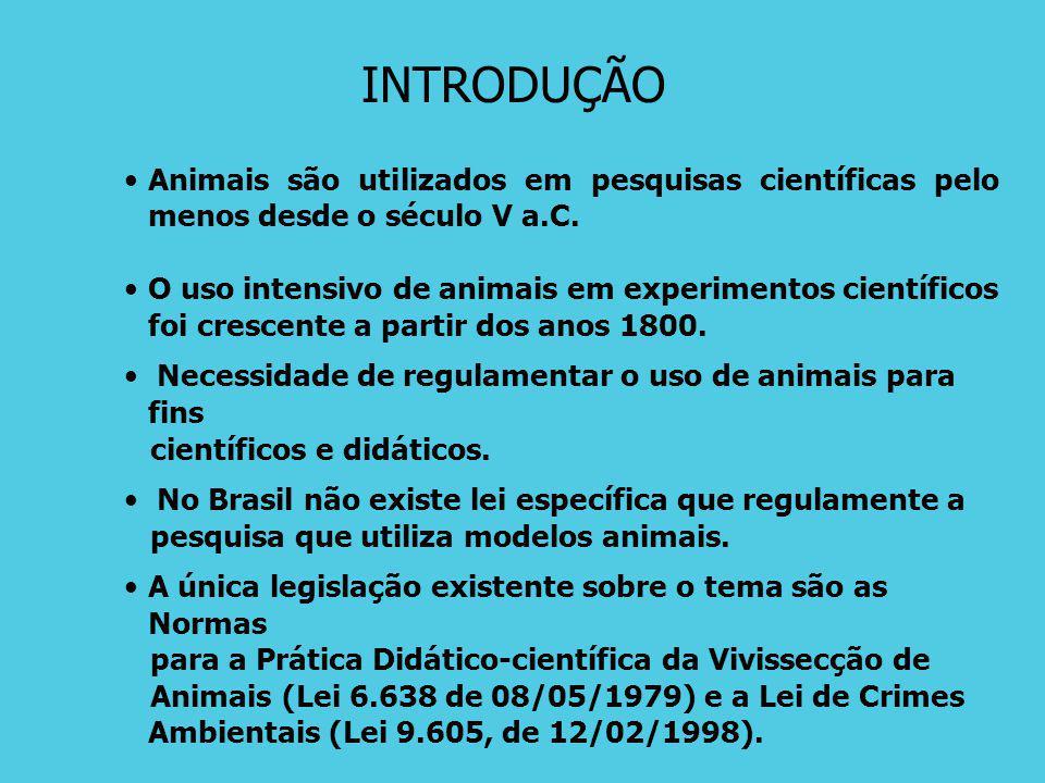 INTRODUÇÃO Animais são utilizados em pesquisas científicas pelo menos desde o século V a.C.