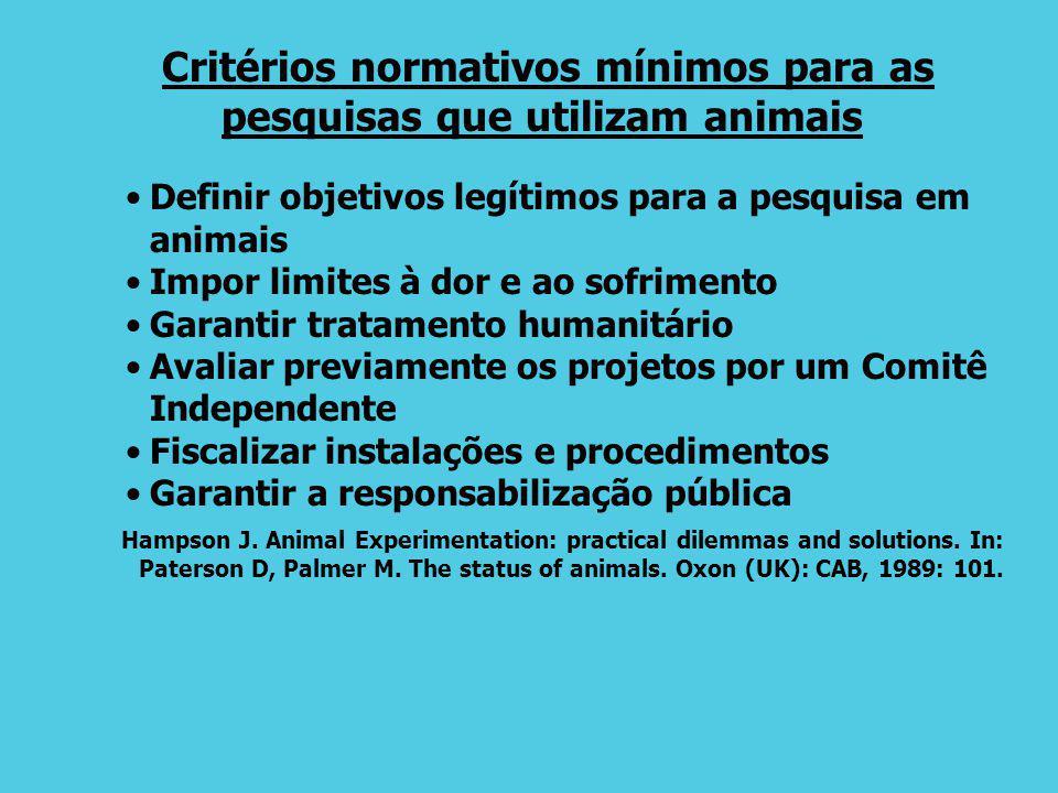 Critérios normativos mínimos para as pesquisas que utilizam animais