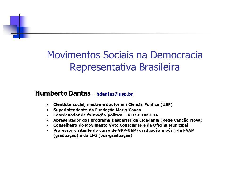 Movimentos Sociais na Democracia Representativa Brasileira